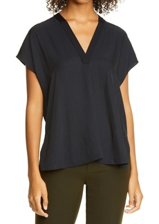 Vince Rib Trim V-Neck Top