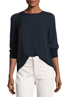 Vince Rib-Trimmed Long-Sleeve Silk Blouse