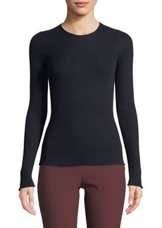 Vince Ribbed Cashmere Long-Sleeve Crewneck Top