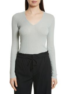Vince Ribbed Cashmere V-Neck Sweater