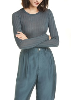 Vince Ribbed Crewneck Cotton Sweater