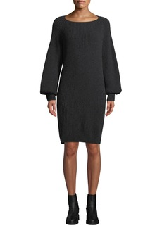 Vince Ribbed Long-Sleeve Wool-Cashmere Dress