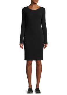 Vince Ribbed Merino Wool Scoop-Neck Dress