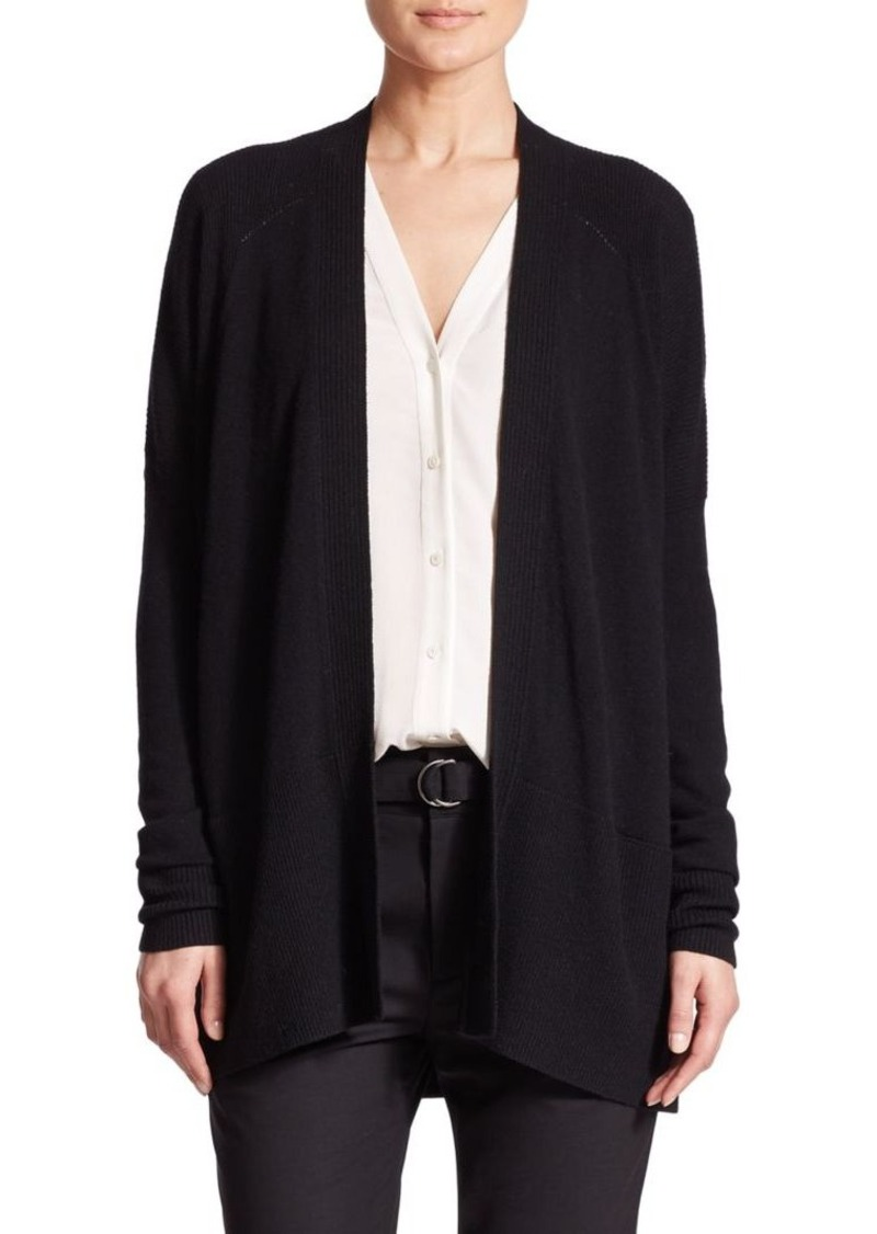Vince Ribbed Pointelle Cashmere Cardigan