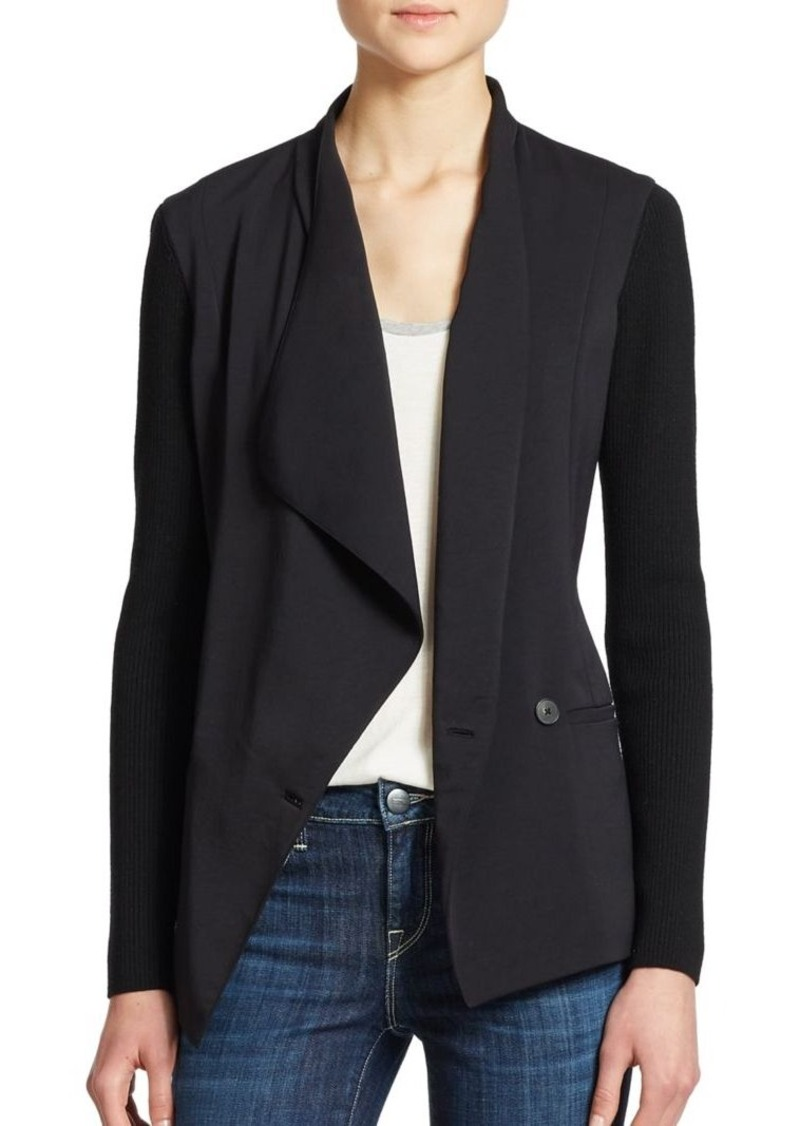 Vince Ribbed-Sleeve Crepe Jacket