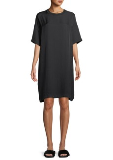 Vince Ribbed-Trim Short-Sleeve Shift Dress