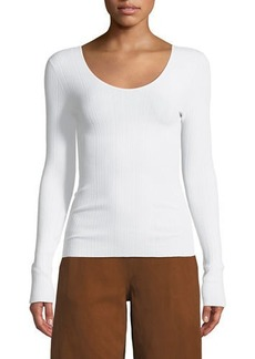 Vince Ribbed U-Back Long-Sleeve Top