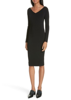 Vince Ribbed V-Neck Dress