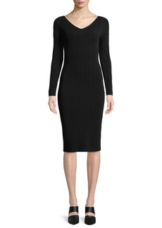 Vince Ribbed V-Neck Long-Sleeve Midi Dress