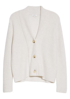 Vince Ribbed Wool & Cashmere Cardigan Sweater