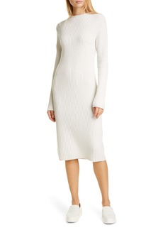 Vince Ribbed Wool & Cashmere Long Sleeve Sweater Dress