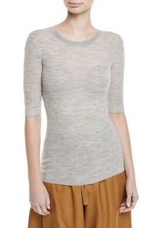 Vince Ribbed Wool Elbow-Sleeve Top