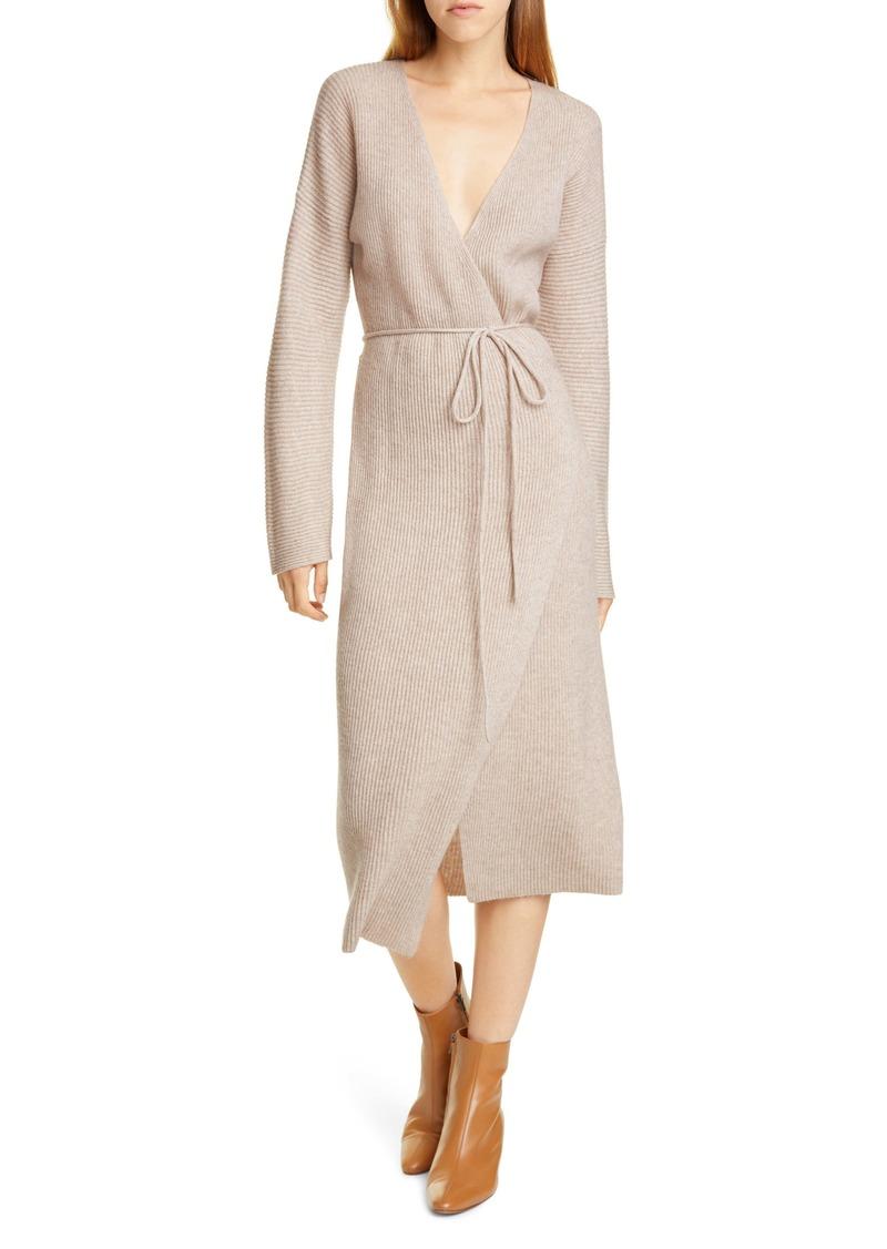 Vince Ribbed Wrap Long Sleeve Wool & Cashmere Midi Dress