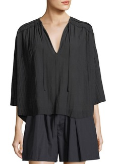 Vince Ruched 3/4-Sleeve Pullover Top