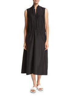 Vince Ruched Drop-Waist Sleeveless Midi Dress