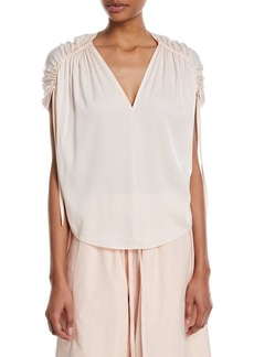 Vince Ruched Short-Sleeve V-Neck Satin Blouse