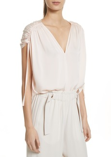 Vince Ruched Silk Top
