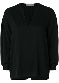 Vince ruched split neck blouse - Black