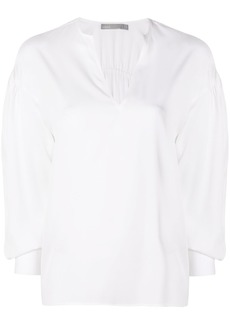 Vince ruched split neck blouse - White