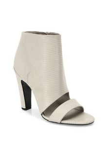 Vince Sansa Snake-Embossed Lether Open Toe Booties