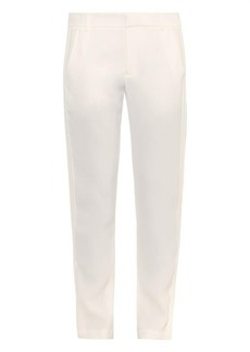 Vince Satin tuxedo-striped tapered trousers