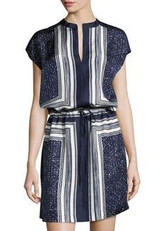 Vince Scarf-Print Drawstring-Waist Silk Dress