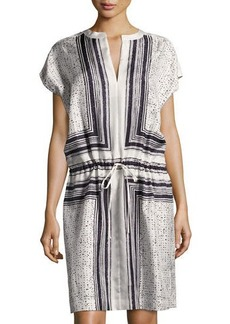 Vince Scarf-Print Drawstring-Waist Silk Dress