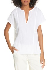 Vince Seam Detail Cotton Split Neck Cotton Top
