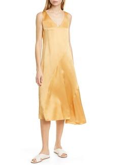 Vince Seamed V-Neck Silk Sleeveless Dress