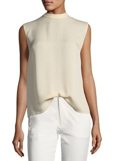 Vince Self-Tie Sleeveless Silk Blouse