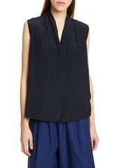 Vince Shadow Dot Sleeveless V-Neck Silk Blouse