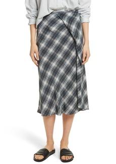 Vince Shadow Plaid Midi Silk Skirt