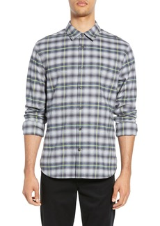 Vince Shadow Plaid Slim Fit Shirt