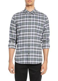 Vince Shadow Plaid Slim Fit Sport Shirt