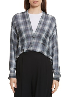 Vince Shadow Plaid Silk Blouse