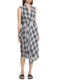 Vince Shadow Plaid Sleeveless Wrap Dress