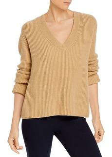 Vince Shaker Rib V Neck Cashmere Sweater
