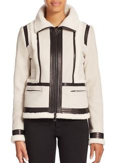 Vince Shearling & Leather-Trimmed Suede Moto Jacket