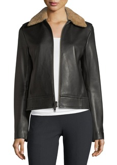 Vince Shearling-Collar Leather Jacket