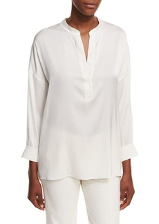 Vince Shirred-Back Draped Silk Blouse