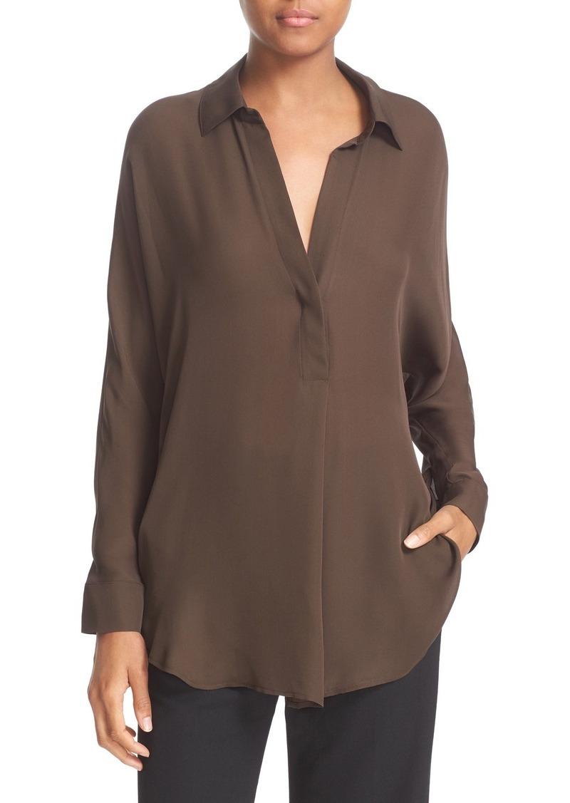 Vince Shirred Back Yoke Silk Tunic Shirt