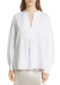 Vince Shirred Cotton Blouse