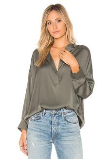 Vince Shirred Drape Blouse in Green. - size L (also in S,XS)