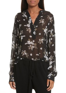 Vince Shirred Floral Silk Blouse