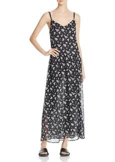 Vince Shirred Floral Silk Slip Dress