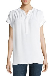 Vince Shirred-Neck Short-Sleeve Silk Top