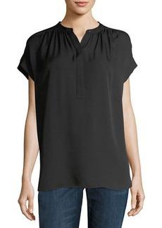 Vince Shirred-Neck Short-Sleeve Silk Top