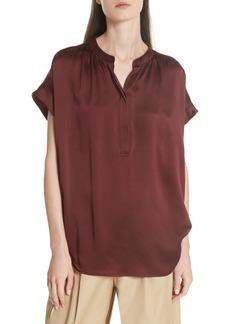 Vince Shirred Neck Silk Pullover