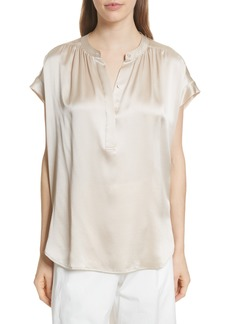 Vince Shirred Neck Silk Top