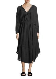 Vince Shirred Seamed Cotton Midi Dress